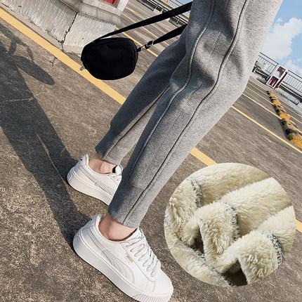 加绒加厚运动裤女羊羔绒秋冬外穿棉裤宽松束脚显瘦休闲卫裤女裤子