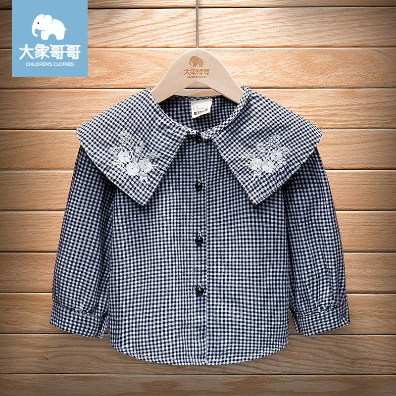 Babys clothing babys autumn clothing girls long sleeve shirt versatile childrens Cotton hemp lotus Lapel Plaid Shirt Top