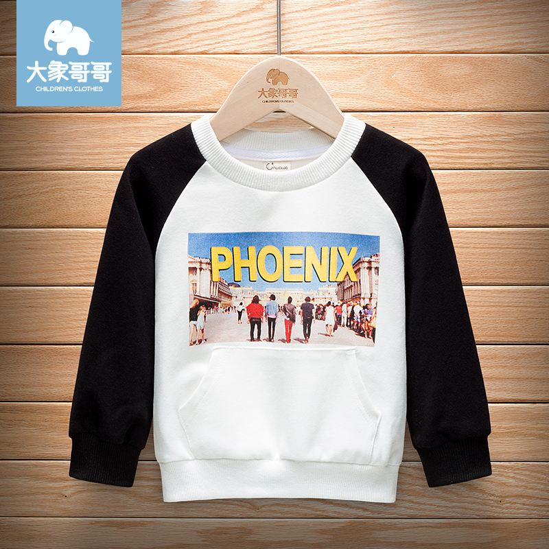 Infant childrens wear boys Autumn wear girls long sleeve T-shirt boys and childrens color contrast top