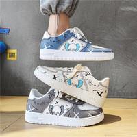 芝麻街动漫联名aj男鞋子青少年空军一号小白潮鞋夏季透气帆布板鞋