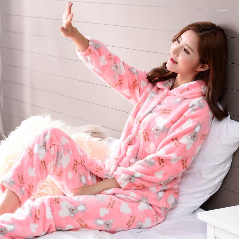 满428.00元可用270元优惠券秋冬季加绒可爱少女士珊瑚绒睡衣