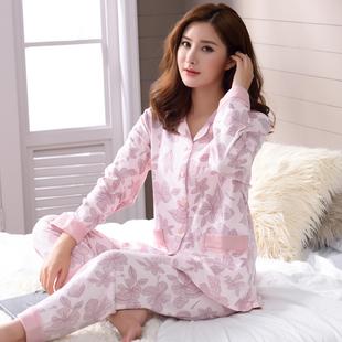 睡衣女士纯棉长袖居家中老年妈妈春秋冬季中年妇女全棉家居服套装价格