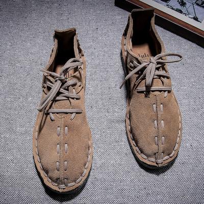 中国风秋季男士手工缝休闲磨砂皮鞋