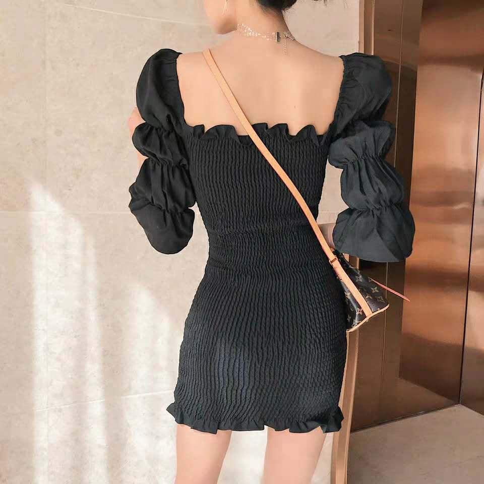 特价2019款女仙女裙一字肩褶皱木耳边泡泡袖小个子泰国潮牌连衣裙