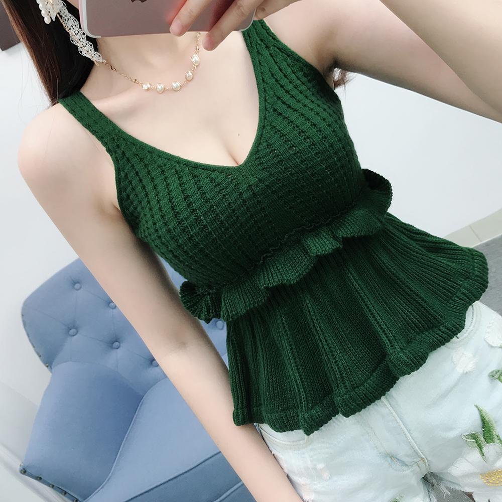 新款V领毛线马甲女裙摆式上衣收腰显瘦针织毛衣背心吊带打底衫夏