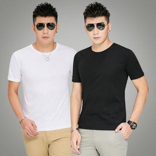 男士短袖t恤打底衫圆领纯色体恤纯白色黑色修身半袖夏季男装衣服