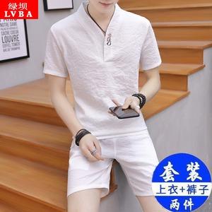 中国风两件套男上衣中式民族服装短袖青年汉服唐装男装休闲潮套装