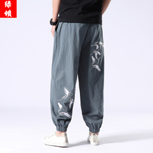 Chinese Style Ancient Leisure Trousers, Harun Trousers, Summer Tang Men's Trousers, Retro Embroidered Hanjacket Close Pants