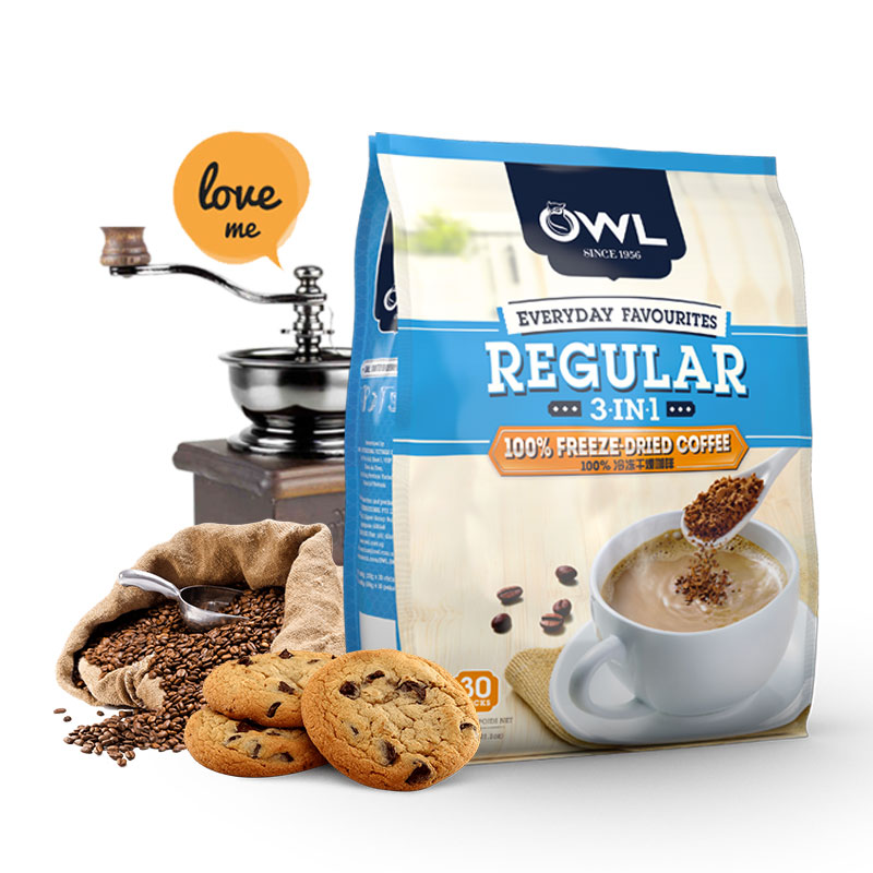 Owl owl Vietnam imported freeze-dried coffee three in one instant coffee powder 600g 30 pack