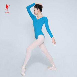 芭蕾舞练功服 天鹅跳操服 连体服 女长袖 红舞鞋 体操形体服 5006