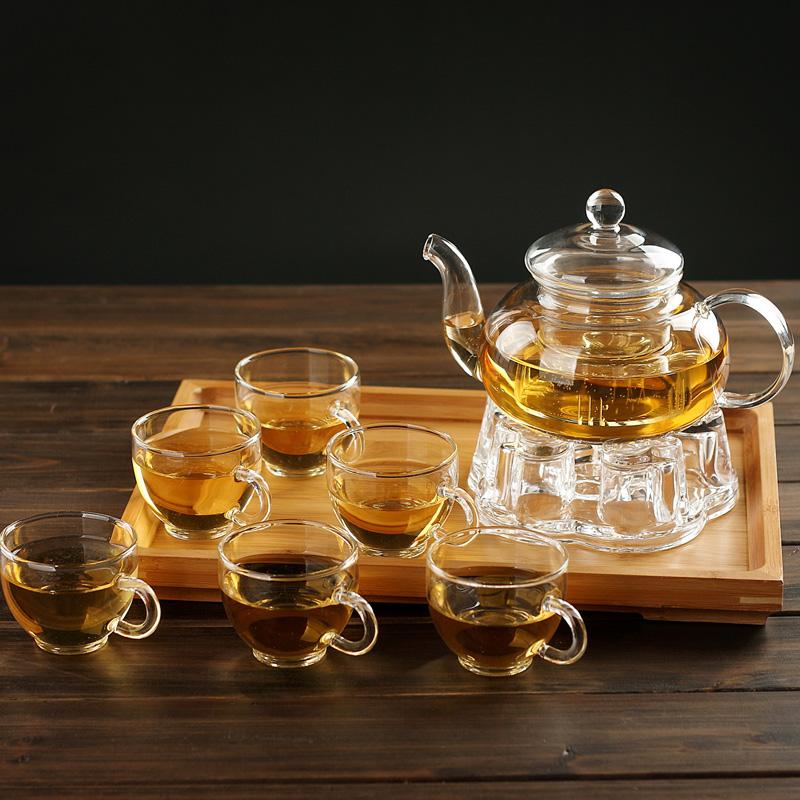 水趣加厚玻璃茶具套裝整套泡花茶壺耐熱功夫茶具茶杯過濾茶壺茶盤
