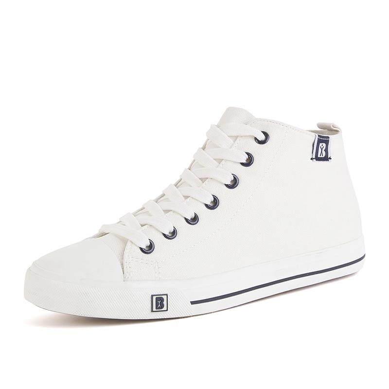 人本簡約男士高幫帆布鞋 英倫潮平底板鞋學生布鞋 透氣男鞋子