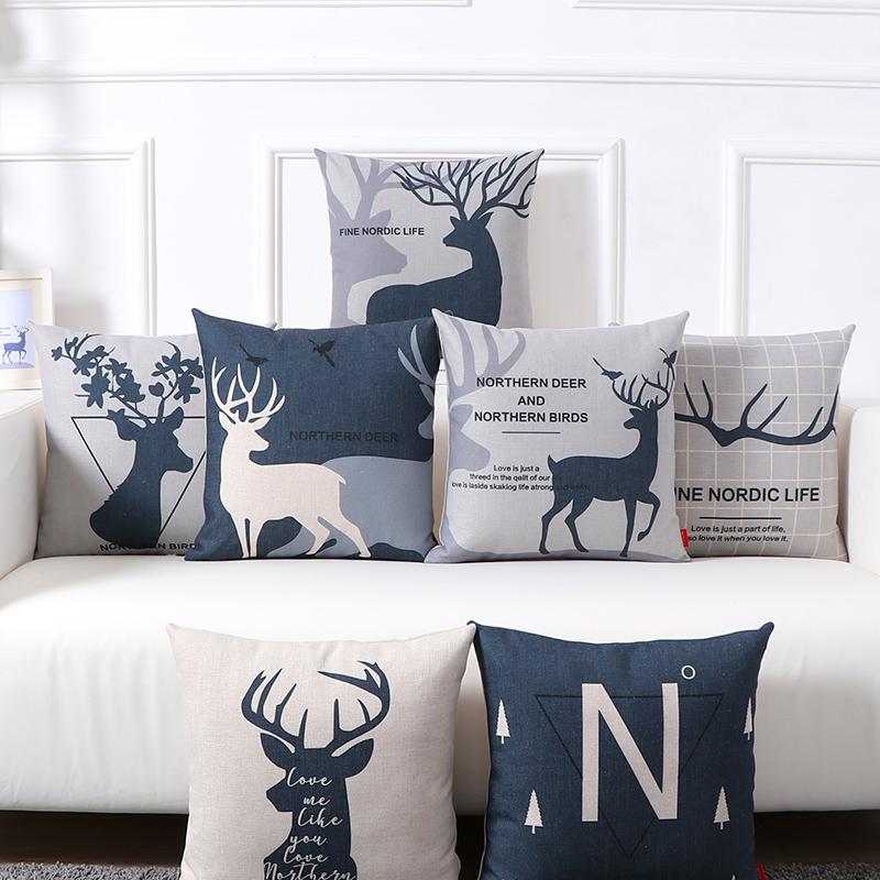 北欧ins沙发客厅小麋鹿抱枕靠垫办公室靠枕床头靠背汽车护腰靠垫