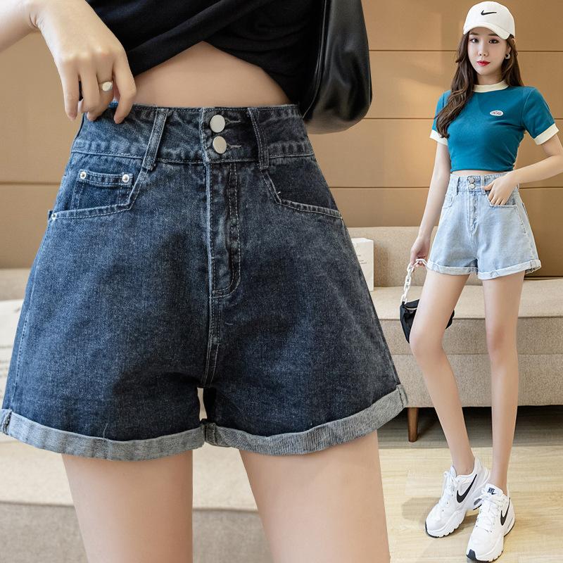 New summer new denim shorts womens blue gray loose A-line thin high waist flanging wash wide leg pants