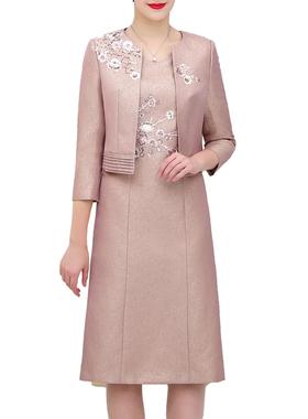 古青婆婆装参加婚礼宴会两件套修身绣花连衣裙妈妈聚会服装七分袖