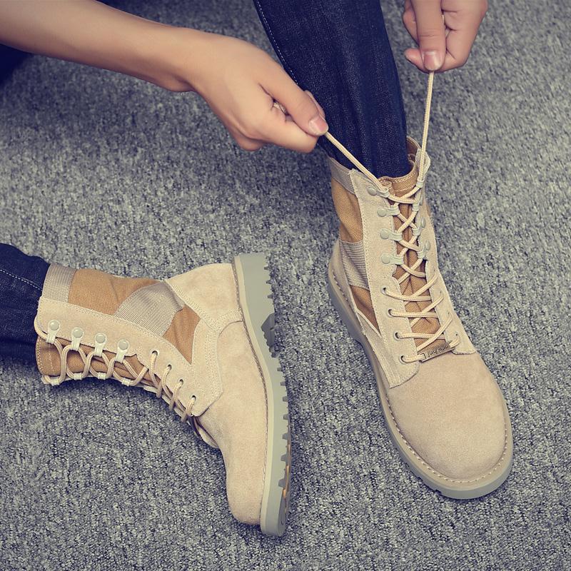 2019冬季男靴子马丁靴男英伦户外沙漠工装鞋潮复古军靴中高帮皮靴
