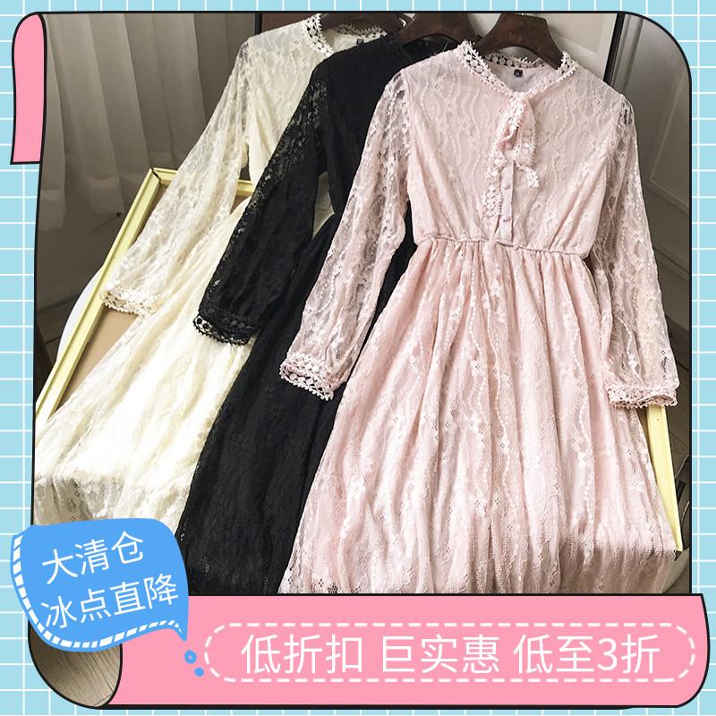 【清仓直降】2020韩版圆领长袖蕾丝衫连衣裙时尚新款休闲洋气D¥7图片