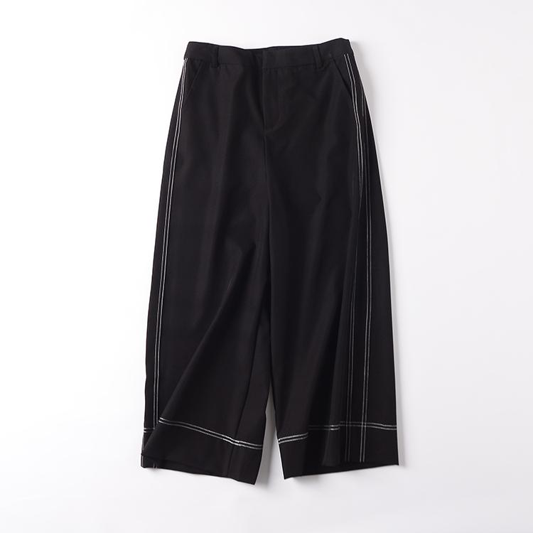 H¥11  秋季韩版2018新款女装高腰纯色双口袋休闲裤直筒长裤潮