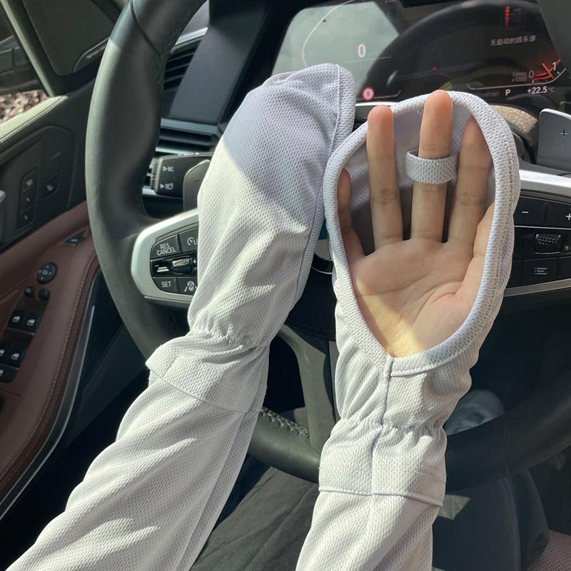 日本大码冰袖手套女夏季开车防晒袖宽松护臂骑行防紫外线冰丝袖套