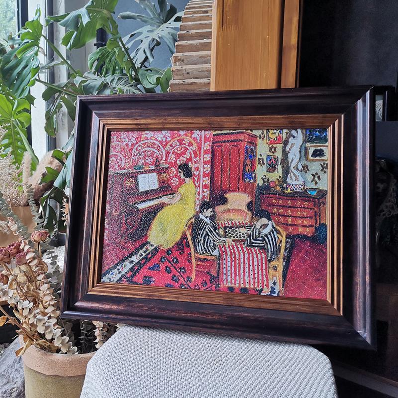鋼琴擺臺可可的畫北歐輕奢小眾復古客廳裝飾畫廊馬蒂斯鋼琴課油畫