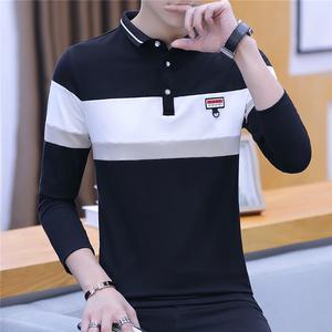 男士t恤長袖秋季翻領韓版青年春秋季潮流個性體恤有領打底衫