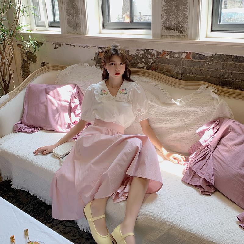 范智乔 腰围可调节 粉色半身裙女夏中长款高腰显瘦侧抽绳a字伞裙