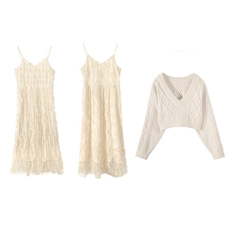 范智乔 连衣裙两件套女初春2019新款毛衣吊带网纱裙很仙的套装裙