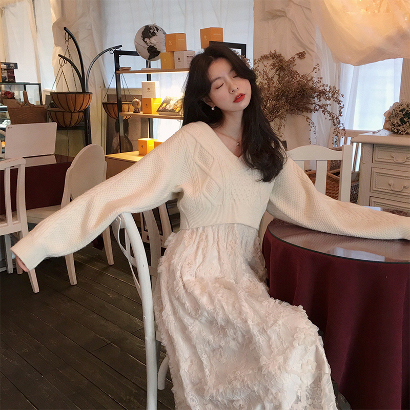 范智乔 年会连衣裙两件套女秋冬毛衣吊带蕾丝网纱裙很仙的套装裙