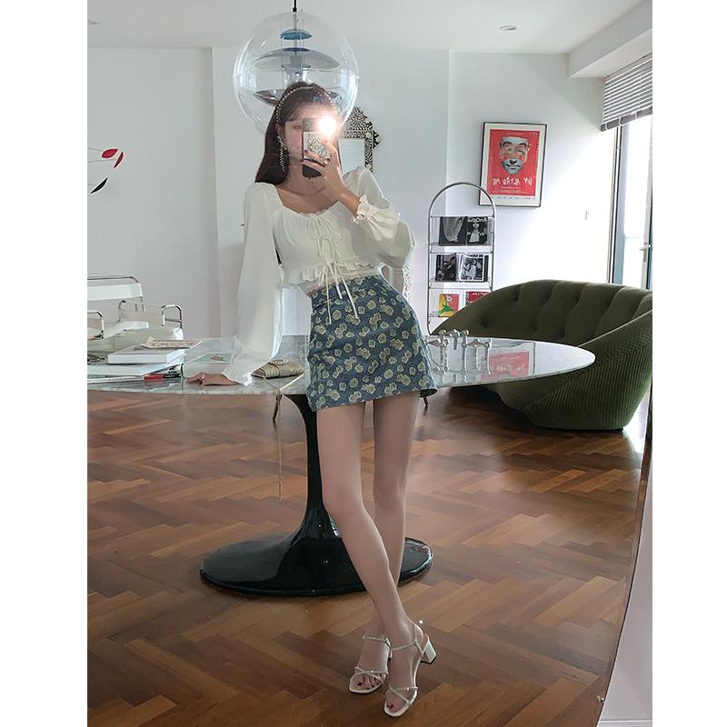 范智乔 千鸟格子半身裙女夏天法式复古小众提花短裙薄款a字裙子