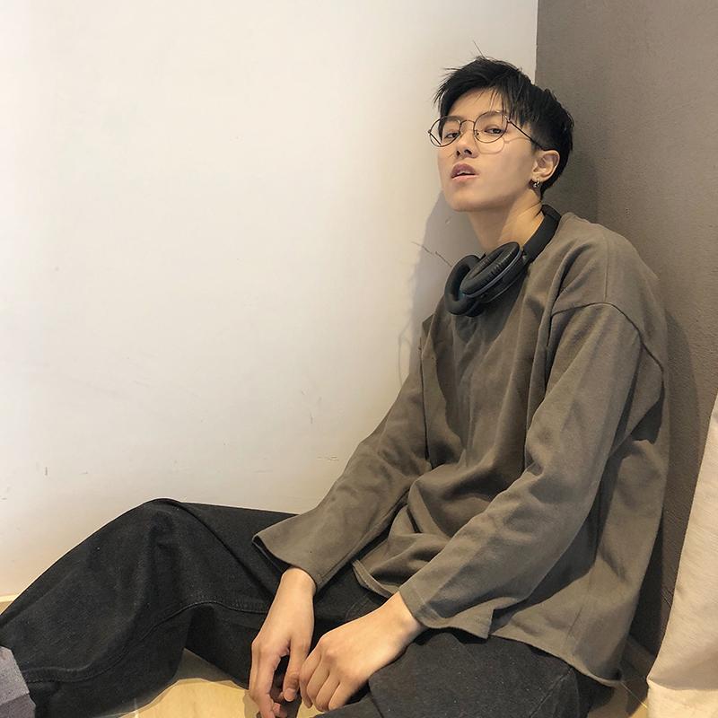 【ONEMAX夏季】圆领ins卫衣韩版潮男女文艺打底衫港风长袖T恤tee图片