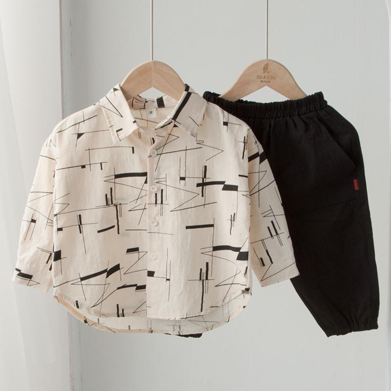 个性花纹!男童纯棉长袖春秋潮衬衫