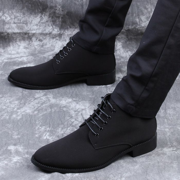 Spring and autumn high top cloth faced mens shoes Korean pointed leather shoes mens British fashion formal wear casual inner height shoes men