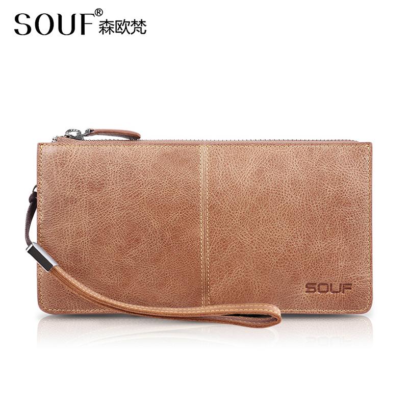 Souf womens long Purse Leather retro head leather zipper handbag large capacity Korean lettering trend
