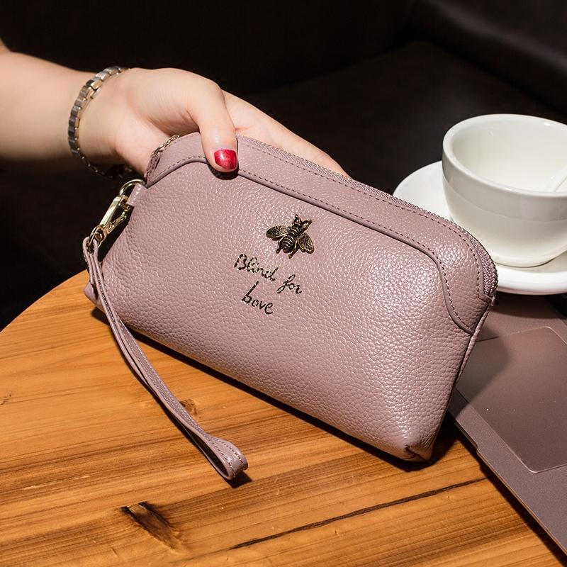新款牛皮真皮女士钱包百搭大容量手抓包韩版潮流女手机零钱手拿包