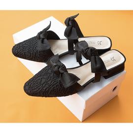 DEZU自制原创设计师款蕾丝包头半拖凉拖鞋外穿蝴蝶结穆勒鞋懒人鞋