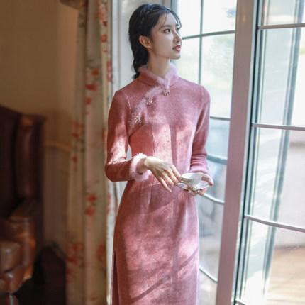 复古秋冬旗袍长袖2020年新款中国风年轻款显瘦改良版灯芯绒连衣裙