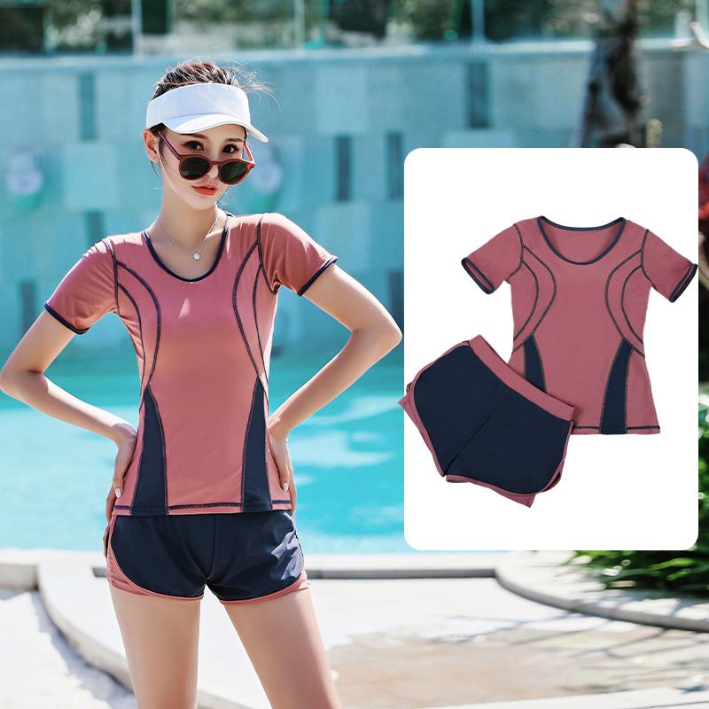 泳衣女保守2020新款遮肚显瘦分体式游泳衣学生平角泳裤泡温泉泳装