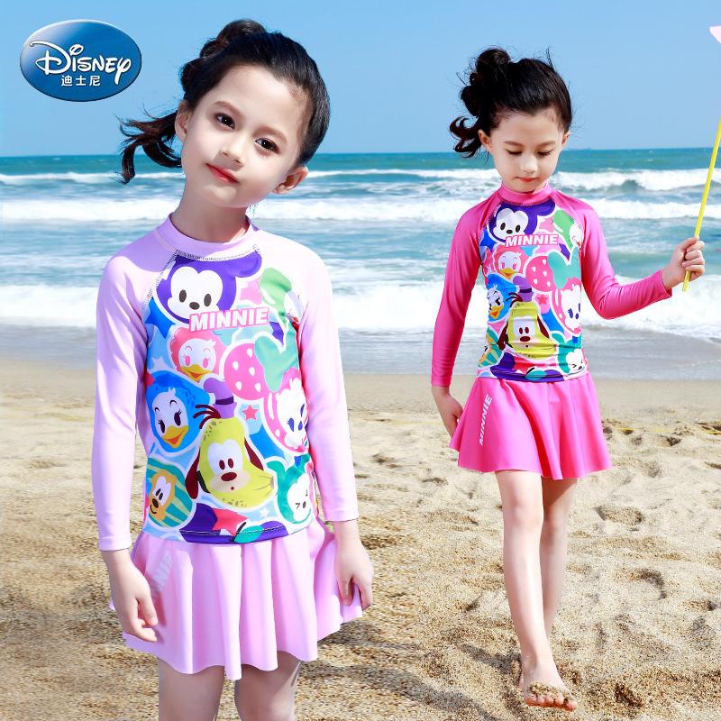 迪士尼儿童泳衣女童中大童长袖防晒分体游泳衣女孩学生少女款泳装(用10元券)