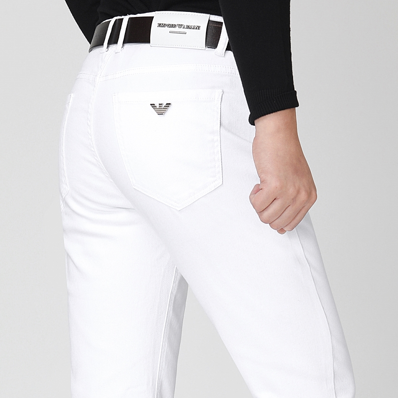 Pure white autumn new jeans mens high waist large elastic straight tube slim fit leisure long pants brand mens wear