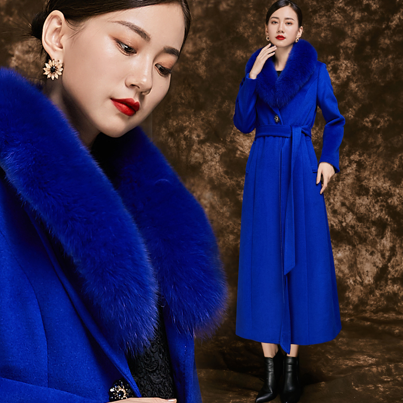 2021 new real fox fur collar versatile cashmere coat womens thickened long slim fit fashion mothers coat