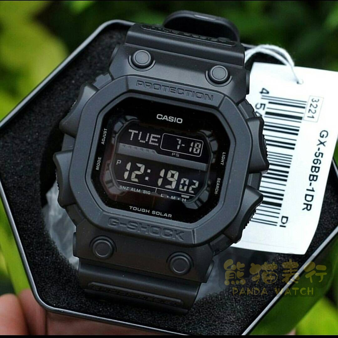 卡西欧G-SHOCK太阳能手表男表方形手表男纯黑巨G大方块 GX-56BB-1