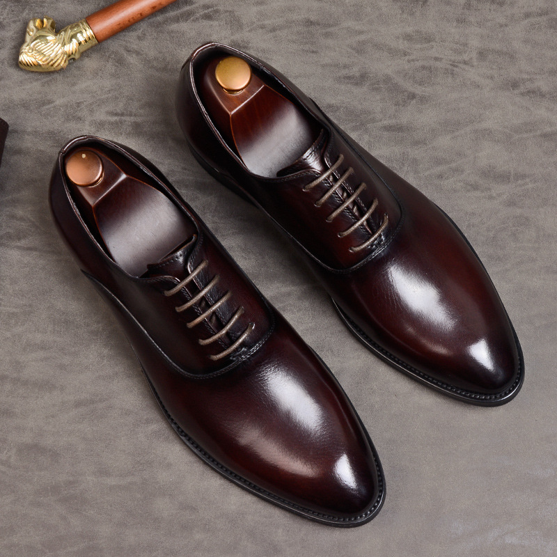 British block carved mens shoes Vintage Leather gentlemans single shoes cowhide handmade Oxford Shoes business dress leather shoes