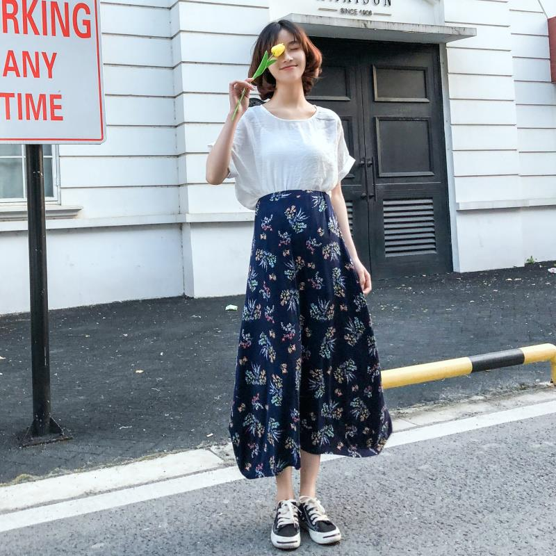 Womens fashionable and versatile personality Ladies Sexy loose new cotton printed slim skirt