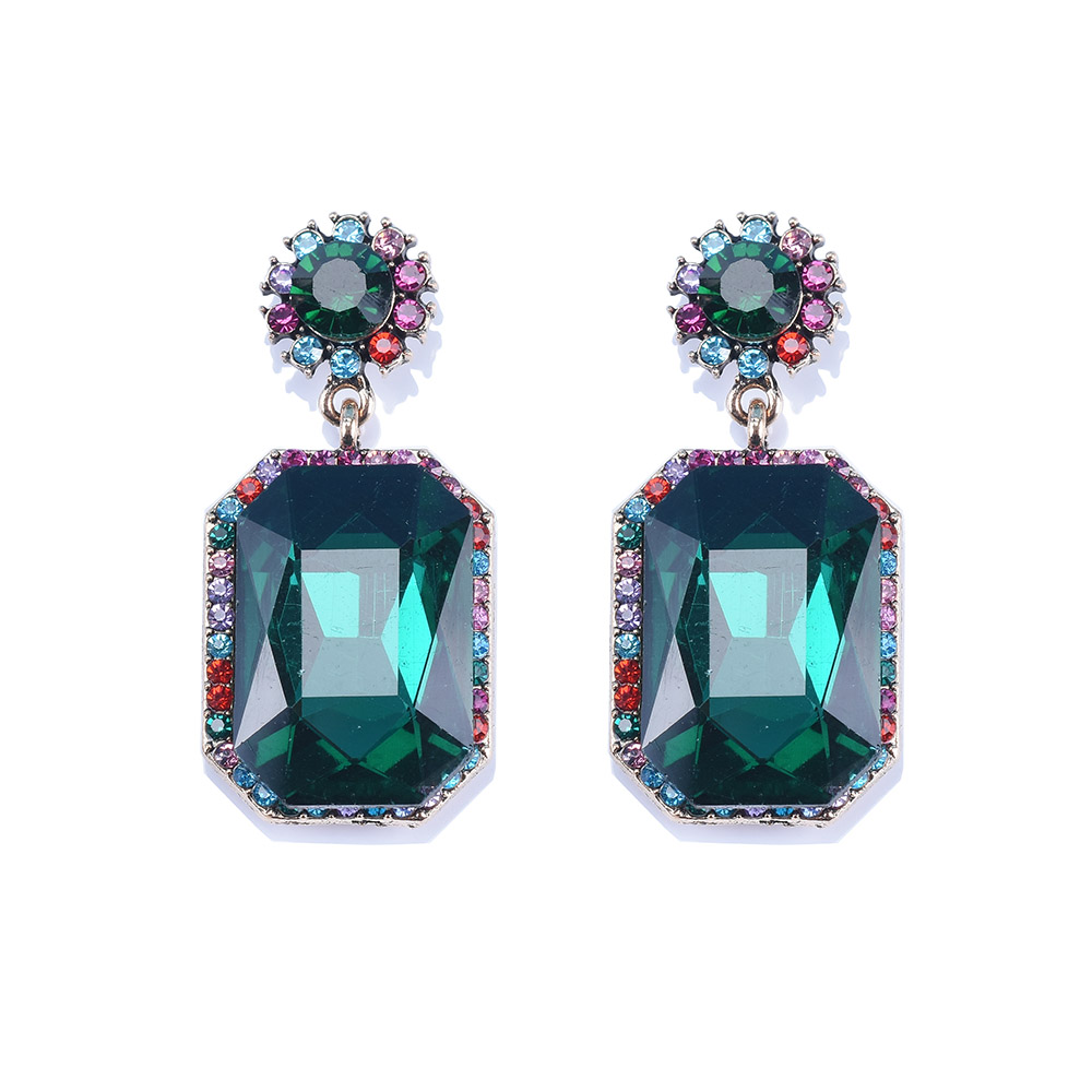 European and American new style other crystal gem Earrings luxury texture temperament Earrings womens court wind net red ear jewelry
