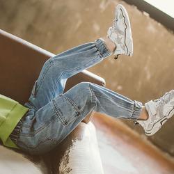 女童牛仔裤春秋2020新款洋气中大童长裤儿童工装裤子外穿休闲裤潮