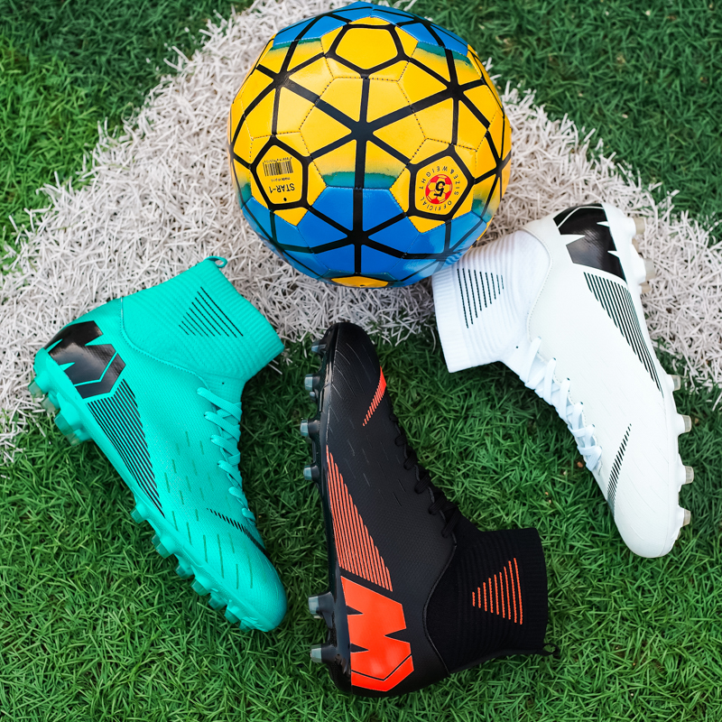 AG long nail C high top football shoes mens broken nail childrens primary school students antiskid and breathable indoor training artificial grassland