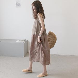 孕妇夏装连衣裙时尚款韩版宽松无袖孕后期背心裙中长款过膝连衣裙
