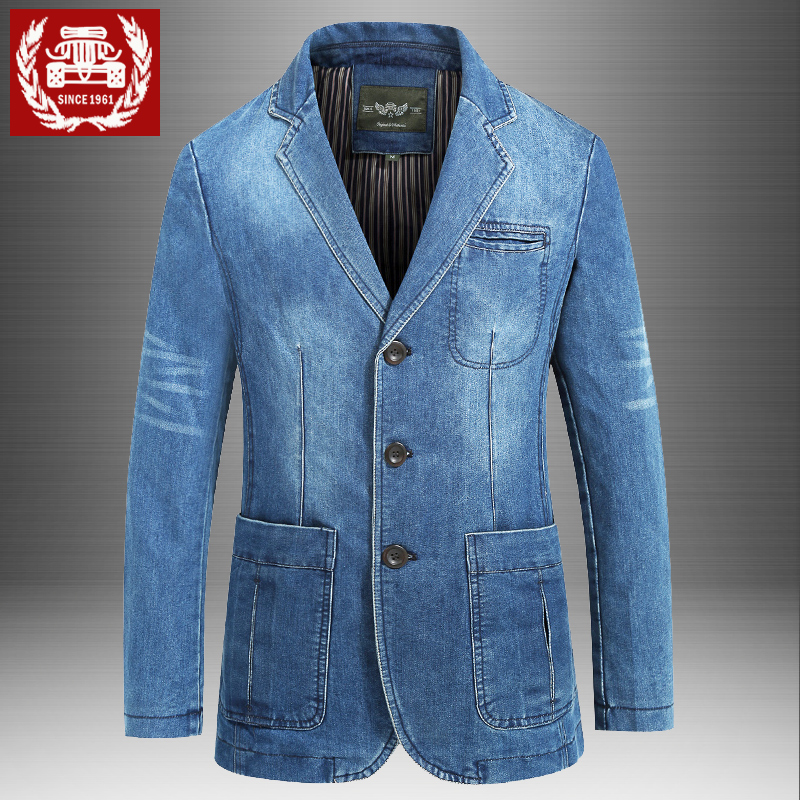 Mens casual suit mens jacket spring and autumn jeans coat mens business large loose retro top single suit