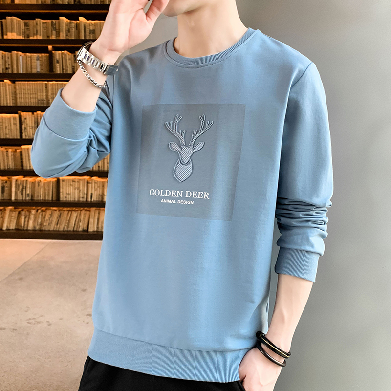 Spring and autumn 2020 men's new long sleeve T-shirt trend men's wear bottoming shirt ins fashion brand T-shirt sweater