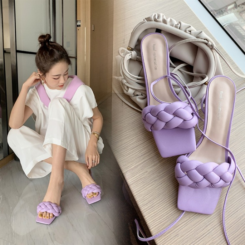 Macarons tiktok womens shoes lace up cross ties, summer net, red shoes, childrens super fire, vibrato, woven shoes, shoes, two wear sandals.